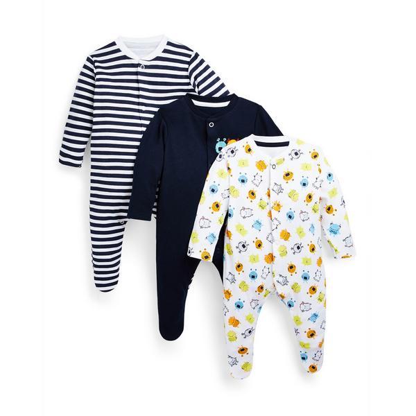 Baby Boy Monster Print Sleepsuits 3 Pack