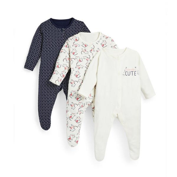 Baby Girl Navy Cubs Print Sleepsuits 3 Pack