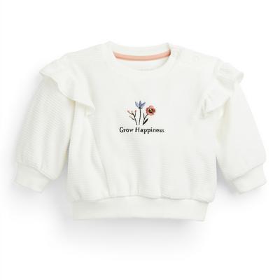 Weißer Rundhalspullover mit Blumenmuster für Babys (M)