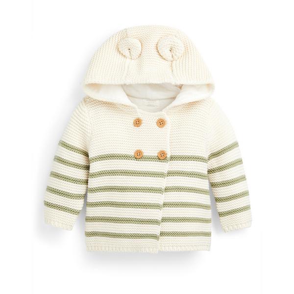 Newborn Baby Boy Ivory Striped Cardigan