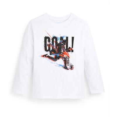 Wit T-shirt met voetbalprint en lange mouwen voor jongens