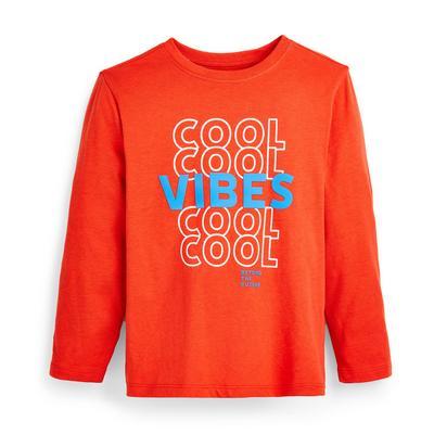 Oranje T-shirt met lange mouwen en tekst voor jongens