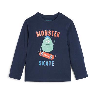Donkerblauw T-shirt met lange mouwen en monsterprint voor jongens