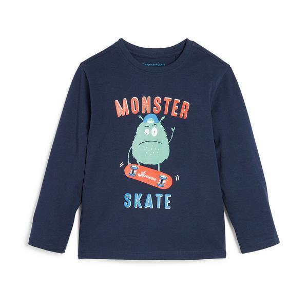 Younger Boy Navy Monster Print Longsleeve T-Shirt