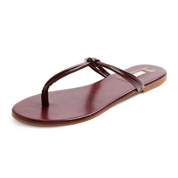 Brown Knot Strap Thong Sandals