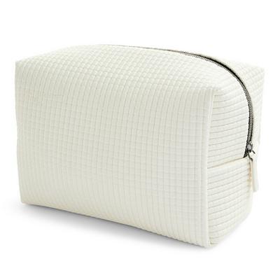 Weiße XL-Make-up-Tasche mit strukturiertem Gittermuster