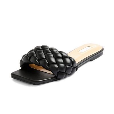 Schwarze, gepolsterte Pantoletten mit geflochtenem Design