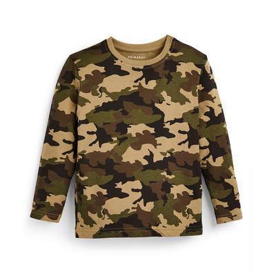 Kaki T-shirt met lange mouwen en camouflageprint voor jongens