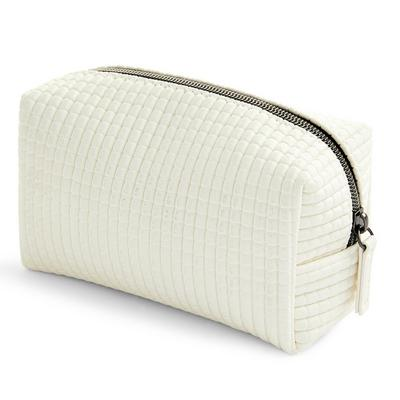 Weiße Make-up-Tasche mit strukturiertem Gittermuster