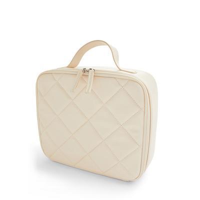 Cream Quilted Square Vanity Case