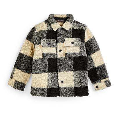 Veste-chemise de bûcheron à carreaux effet mouton retourné garçon