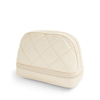 Cream Quilted Half Moon 2-In-1 Washbag