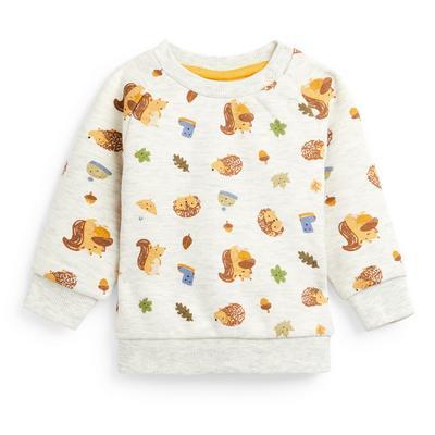 Baby Boy Ivory Hedgehog Crew Neck Sweater