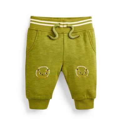 Groene babyjoggingbroek met egelprint voor jongens