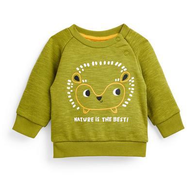 Baby Boy Khaki Hedgehog Print Crew Neck Sweater