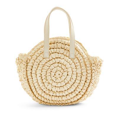 Natural Straw Woven Circle Crossbody Bag