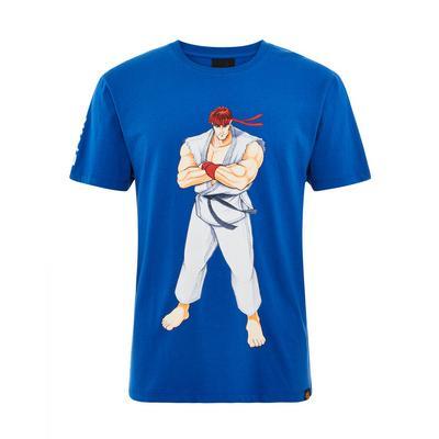 Blue Street Fighter Print T-Shirt