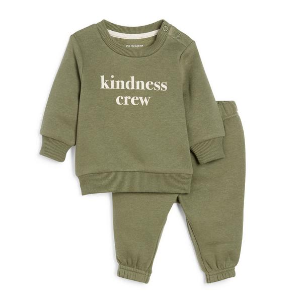 Baby Boy Khaki Slogan Leisure Set 2 Piece