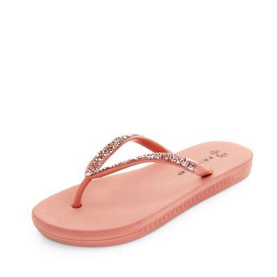 Blush Pink Diamante Flip Flops