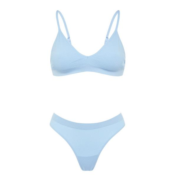 Blue Seamfree Lingerie Set