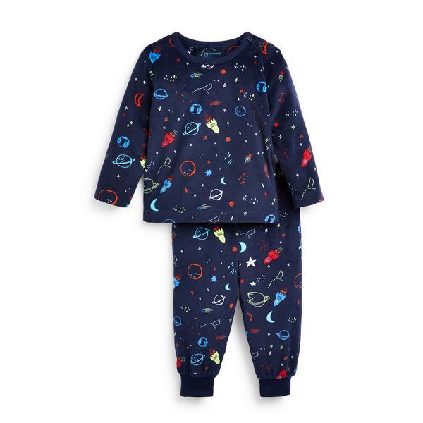 Baby Boy Navy Space Print Minky Pyjamas Set