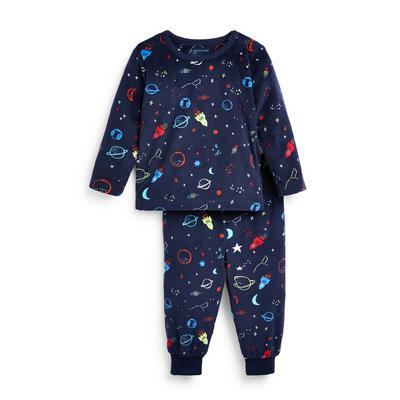 Pyjama bleu marine en tissu minky à imprimé spatial bébé garçon