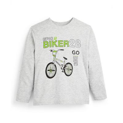 Grijs T-shirt met bikerprint en lange mouwen voor jongens