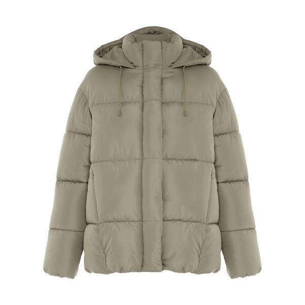 Khaki Soft Touch Hooded Padded Jacket