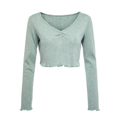 Sage Green Supersoft Pointelle Cropped Top