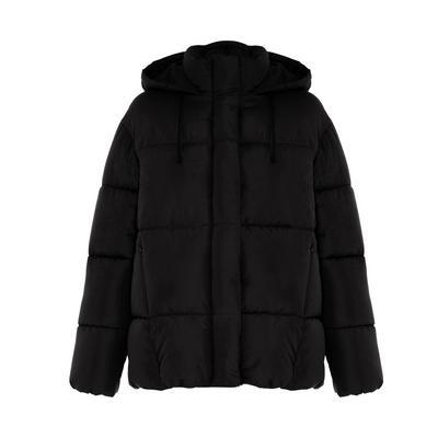 Abrigo negro acolchado de tacto suave con capucha