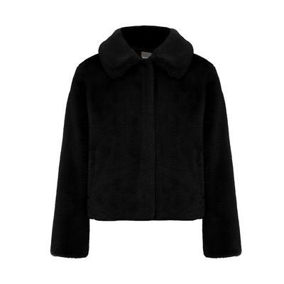 Schwarze Glam-Jacke aus Kunstfell