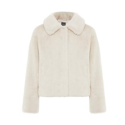 Manteau ivoire court glamour en fausse fourrure