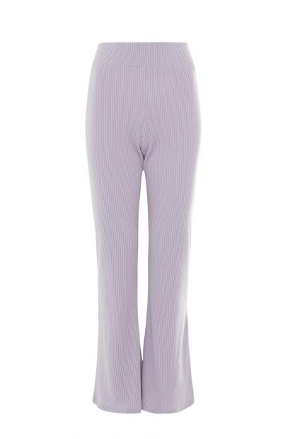 Lilac Deep Ribbed Flare Leggings