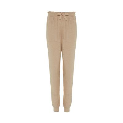Beige Supersoft Ribbed Joggers