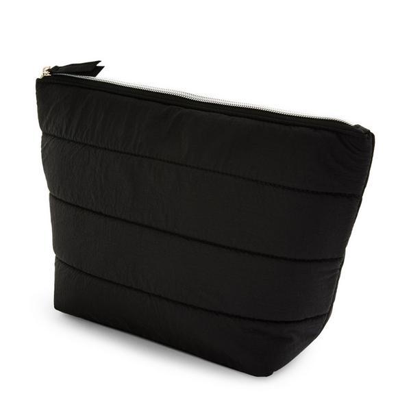 Black Puffy Nylon Quilted Washbag