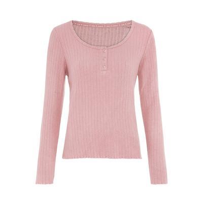 Zelo mehka rožnata široka rebrasta majica