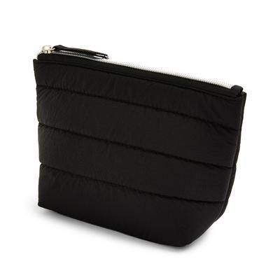 Black Puffy Nylon Quilt Mini Washbag