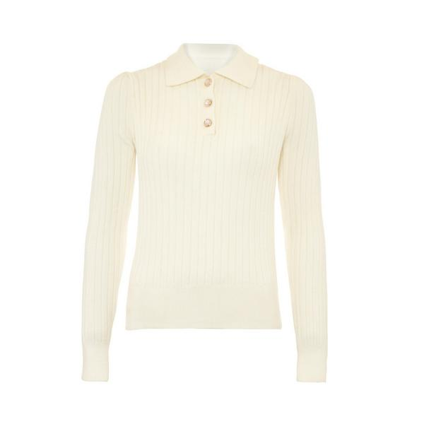 Ivory Ribbed Knit Polo Neck Jumper