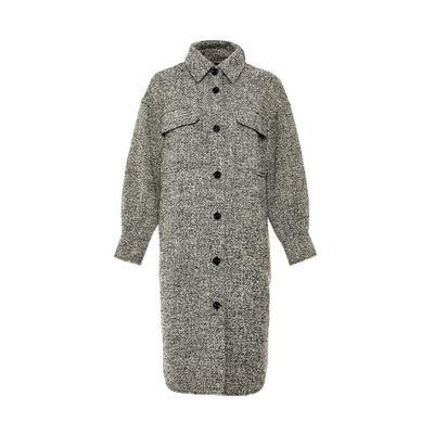 Schwarz-weißer extralanger Tweed-Mantel im Hemdstil