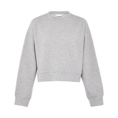 Camisola curta padrão chevron cinzento