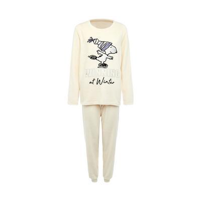 Ivory Snoopy Print Sherpa Pajamas