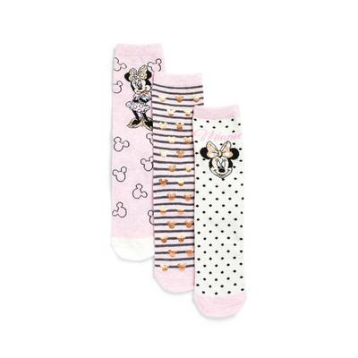 3-Pack Rose Gold Disney Minnie Mouse Print Crew Socks