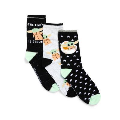 Pack de 3 pares de calcetines altos surtidos de Baby Yoda
