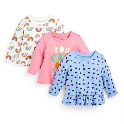 Pack 3 t-shirts estampado sortido menina bebé