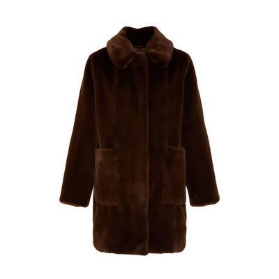 Brown Faux Fur Pocket Coat