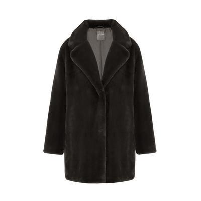 Black Faux Fur Longline Glam Coat