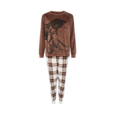Brown Check Disney Bambi Pajama Minky Pajama Set