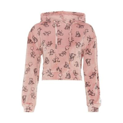 Pink Velvet Winnie The Pooh Cares Cropped Hoodie