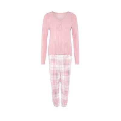 Pyjama rose à carreaux