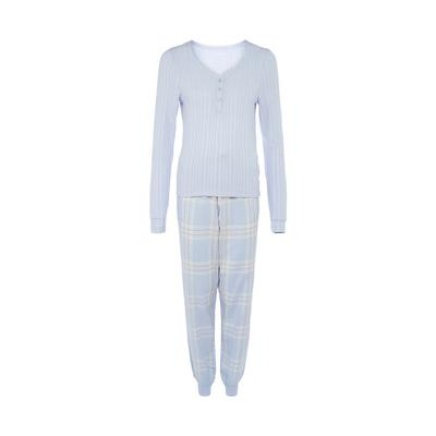 Pyjama bleu à carreaux
